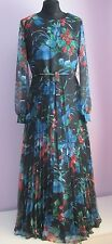 VTG Ladies Unbranded Black Floral Lined Accordion Pleated Long Maxi Dress Sze 14