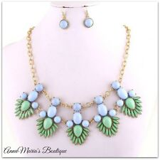 SHOUROUK BLUE & MINT ACRYLIC BEAD GOLD METAL CHUNKY STATEMENT BIB NECKLACE SET
