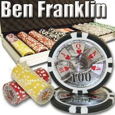 New 500 Ben Franklin 14g Clay Poker Chips Set with Aluminum Case - Pick Chips!