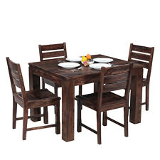 Comtempory Dining Set with 4 Chair set of Shesham Wood in Brown Colour