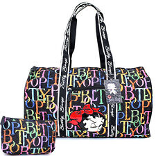"Betty Boop Quilted Duffle Travel Bag Diaper Gym Bag -Rainbow Typo Black 21"" XL"