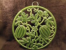 "QUALITY GREEN ENAMELLED CAST IRON 8 1/2"" MELONS AND VINES TRIVET"