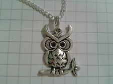 "TIBETAN SILVER ""OWL1.7X2.5 ""  PENDANT ON 18""or 20""INCHES CHAIN  NECKLACE"