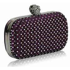 CLUTCH hand BAG diamante 154 WEDDING chain crystal purple skull hard case goth