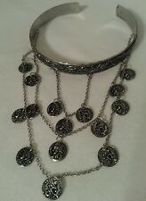 Bead Arm Cuff Bohemian Style Bracelet Burnished Coin Silver Tone Chain