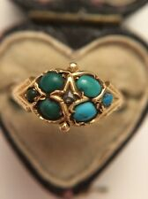 Antique Victorian Turquoise And Rose Cut Diamond 15ct Cluster Yellow Gold Ring