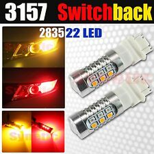 2x 3157 Switchback LED 2835 Chip Red/Amber Yellow Front Turn Signal Light Bulbs