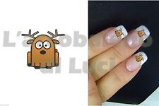 20 ADESIVI UNGHIE NAILS STICKERS CERVO RENNA NATALE NAIL ART CHRISTMAS DEER