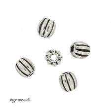 6 Bali Antique Sterling Silver Oval Pumpkin Spacer Beads 3.6x4mm #99310