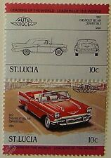 1957 CHEVROLET BEL AIR CONVERTIBLE Car Stamps (Leaders of the World / Auto 100)
