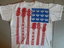 Red Guitar Bass Blue Amp White T Shirt L Free US Shipping