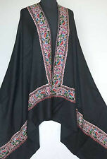 Large, Black, Embroidered, Wool Shawl. Border in Multicolor, Crewel Embroidery