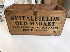 Spitalfield old market antique en bois stockage coffre coffret caisse vintage 30cm