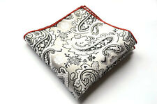 Red Edged Sliver Paisley Handmade Men Pocket Square Silk Handkerchief  KHP103