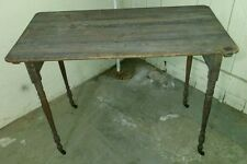 Vintage Antique Sewing Table Wood Stand Metal Wheels Folding patio plant stand