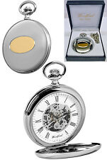 Woodford Hunter 17 Jewel Skeleton Pocket Watch Chrome & GP Free Engraving (1089)