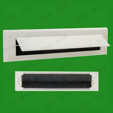 2x White PVC Door Letter Box Draught Excluder Brush Seal, 338 x 78 mm, With Flap