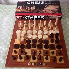 WOODEN CHESS DRAUGHTS & BACKGAMMON BOARD GAME WOOD PLAYING PIECES WADDINGTONS
