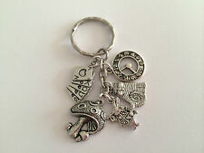 ALICE IN WONDERLAND Viintage Style Silver Color Key ring. mythical gift, present