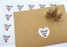 50 x Heart THANK YOU Stickers Wedding Favours. Vintage Craft. Seals Gift Label.