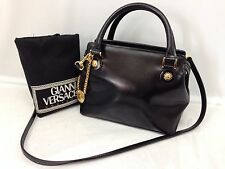 Vintage GIANNI VERSACE Black Leather 2 way Shoulder Hand Bag 6H020030N