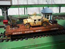 Custom Made Highly Detailed G Scale Flat Car with Humvee and Ammo Skids as Cargo
