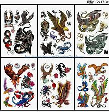 US Seller-eagle snake scorpion men's 6 sheets temporary tattoo stickers book