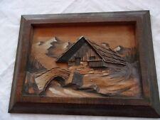 tableau ancien en bois HAUFER chalet de montagne