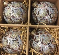 Gold Glittery Silver Mercury Glass Christmas Ornaments Set 4
