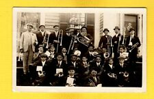 RPPC  Large group of Men with musical wind instruments
