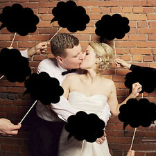 New 10x Funny Party Black Speech Bubbles on a Stick Photo Booth Prop for Party