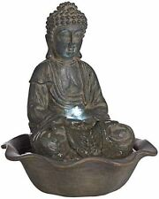 Buddha LED Light Tabletop Water Fountain Indoor Outdoor Modern Zen Relaxation