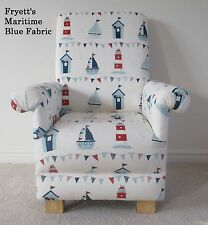 Fryetts Maritime Blue Fabric Child Chair Boats Nautical Seaside Kids Ships White