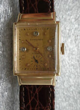 mens vintage Longines 14K yellow gold  mechanical  wristwatch 17J  running