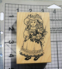 PSX Personal Stamp Exchange Wood Mounted Rubber Stamp Victorian Girl Doll