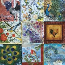 9 Paper Napkins Decoupage BIRDS Mixed Assorted Rooster Peacock Craft Beverage