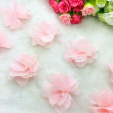 New Hot 1 Yard Flower Chiffon Wedding Dress Bridal Fabric Lace Trim Light Pink