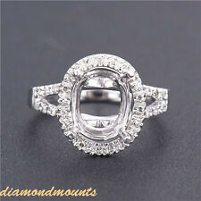 Oval Cut 8x10mm Solid 14K White Gold Natural Diamond Semi Mount Setting Ring