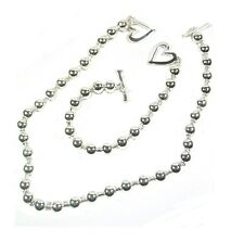 Silver FInish T Bar Heart Love Necklace Bracelet Costume Party Jewelry Set