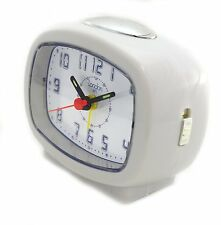 London 1872 Quartz Beep Alarm Clock White Brent Easy Read Dial Light Snooze