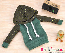 ☆╮Cool Cat╭☆144.【NP-B17】Blythe/Pullip Hoodie Top(Long Sleeves)# Dot Green