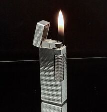 1979 dunhill Rollagas Silver Cascading Lines Lighter - SERVICED & Guaranteed