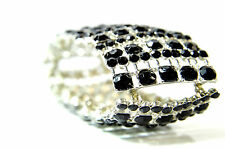 ELEGANT CHUNKY BLACK SILVER MULTI LAYER BRACELET BRAND NEW (ST50)