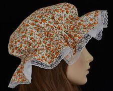 Victorian bonnet mob cap orange/blanc dentelle regency maid mop chapeau frilly