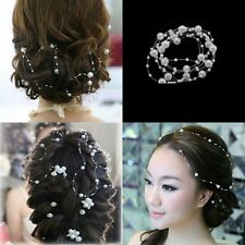 White Pearl Studded Wedding Party Bridal Headpiece Tiara Headdress Hairband 1.3m