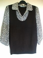 M&S Ladies top size 18 Brown tank top blouse top animal print soft stretchy