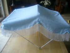 SUN CANOPY MADE TO FIT THE KENSINGTON COACH BUILT PRAM IN BLUE WITH BLUE ROSES