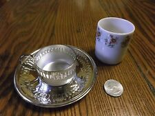 BELLINI SILVERPLATE AND PORCELAIN Demitasse Tea Cup and Saucer Made in Brazil