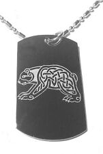 Military Dog Tag Metal Chain Necklace Celtic Bear Tattoo Logo Symbol Jewelry New