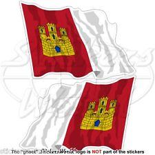 Castilla-La Mancha que enarbolen bandera de España manchego-castellano 12cm Stickers Calcomanías X2